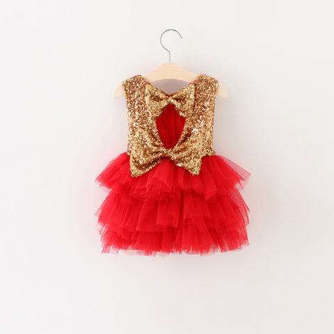"The ""Gigi"" Shimmer Gold Sequin Bow Baby Toddler Dress - Red - Angora Boutique - 1"