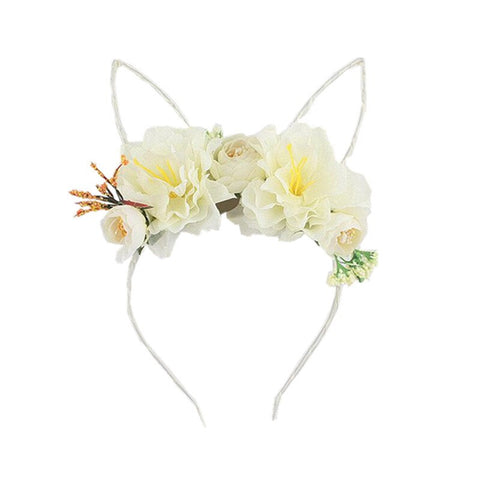 Floral Wire Bunny Ear Headband - Ivory