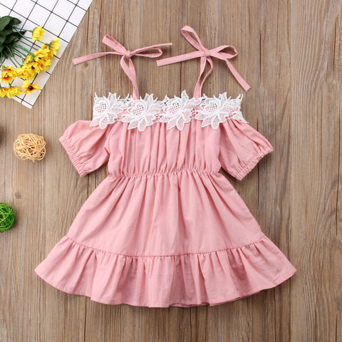 "The ""Elizabeth"" Pink Lace Baby + Girls Dress"