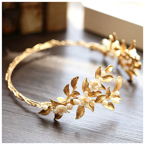 Vintage Inspired Gold Leaves and Rose Headpiece