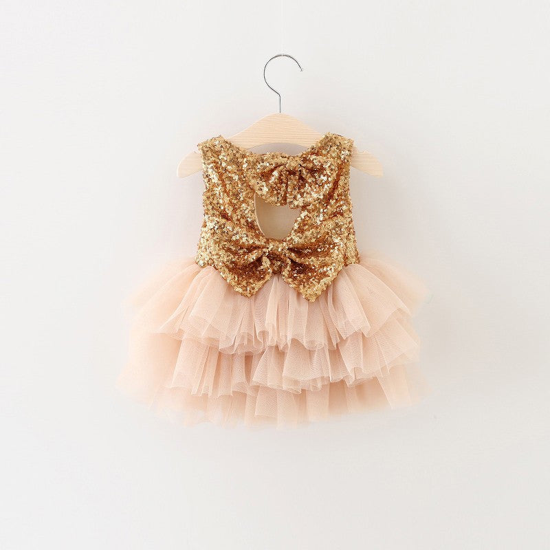 "The ""Gigi"" Shimmer Pink Gold Sequin Bow Baby Toddler Dress - Angora Boutique - 2"