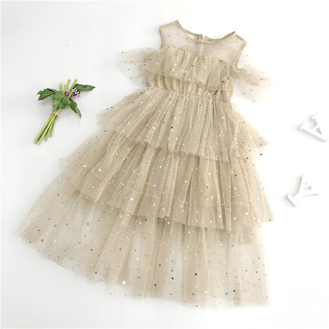 Star & Moon Dress - Gold or White - Cap Sleeve