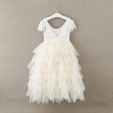 "The ""Maryanne"" White Lace and Tulle Girls Dress - Cream"