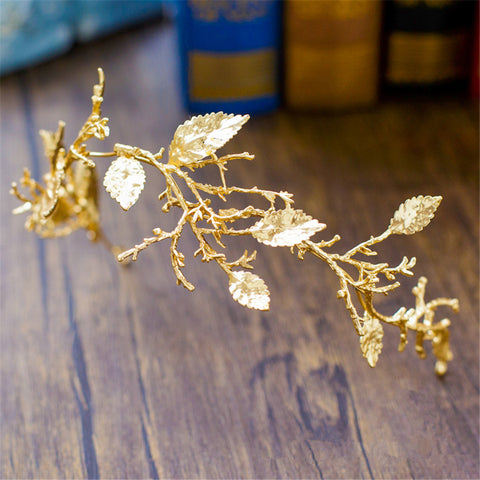 Gold & Rose Gold Leaf and Branch Headpiece