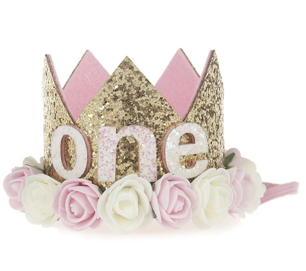 First, Second, Half Birthday Crowns Rose Pink and Gold