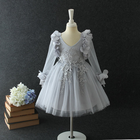 "The ""Farrah"" Gray Lace Tutu Petal Flower Girl Dress - Long Sleeve"