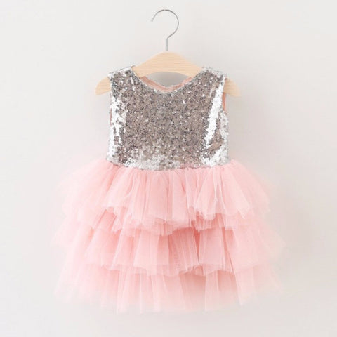"The ""Gigi"" Shimmer Silver Sequin Bow Baby Toddler Dress - Light Pink - Angora Boutique - 1"