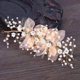 Rose Gold Tulle and Pearl Headpiece