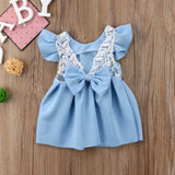 Sara Lace Back Bow Dress in Blue