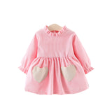 Be Mine Corduroy Vintage Baby Dress - Pink