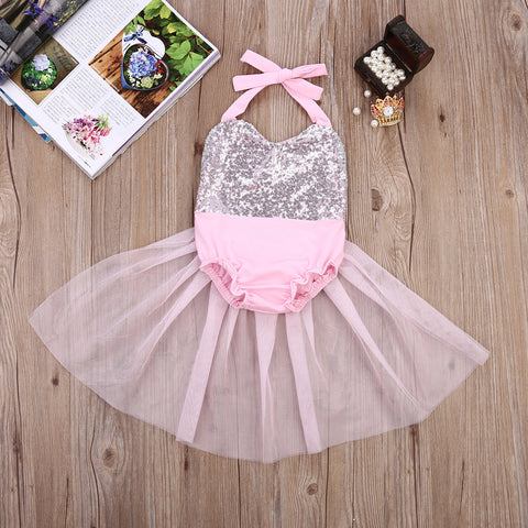 Staci Light Pink and Silver Sequin Baby Romper with Tulle Skirt - Angora Boutique