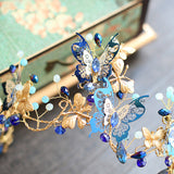 Whimsy Blue Butterfly Rhinestone Headpiece