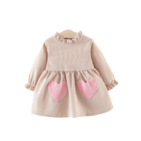 Be Mine Corduroy Vintage Baby Dress - Beige