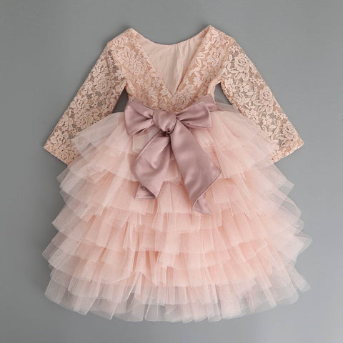 "The ""Emma"" Comfy Peachy Pink Lace Girls Dress - Long Sleeve"