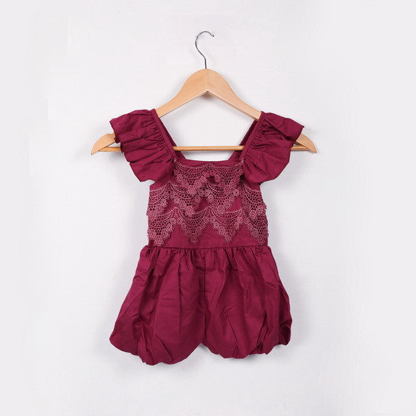 "The ""Elsie"" Fall Colors Lace Romper - Red"