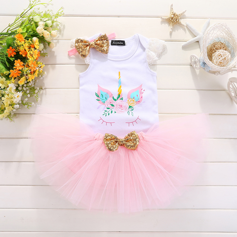 Dreamy Unicorn Tutu Set with Romper Headband Skirt