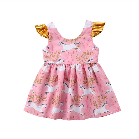Whimsy Pink + Gold Unicorn Baby + Girls Dress