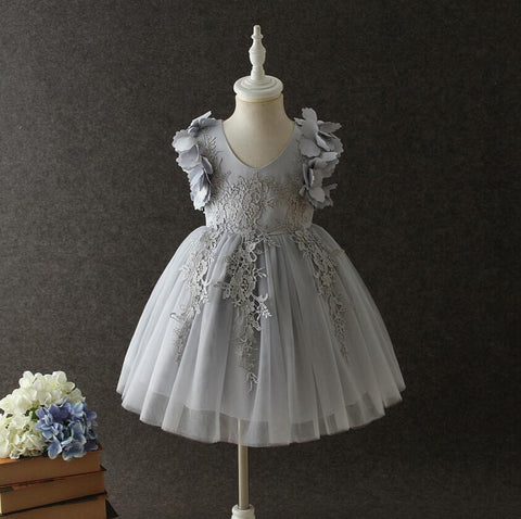 "The ""Farrah"" Gray Lace Tutu Petal Flower Girl Dress"