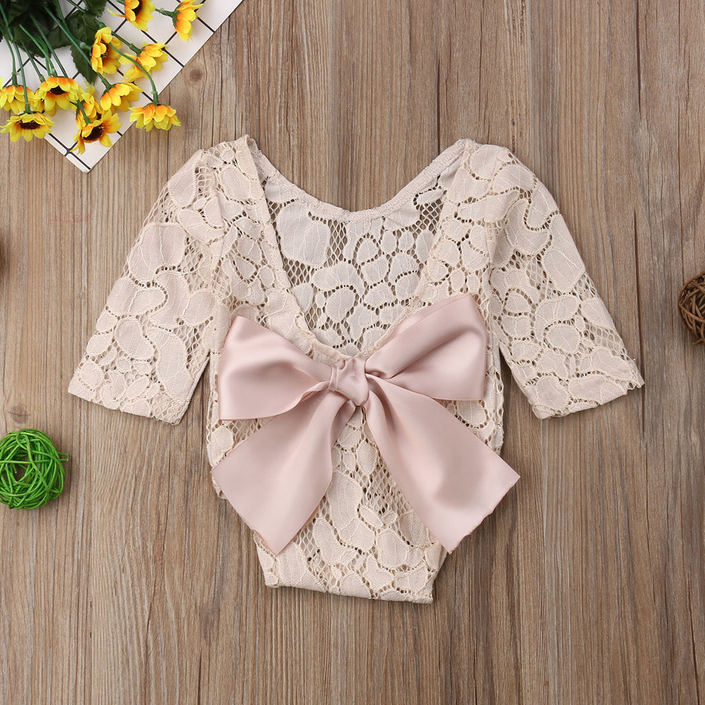 Beige Lace Bow Baby Romper - Angora Boutique