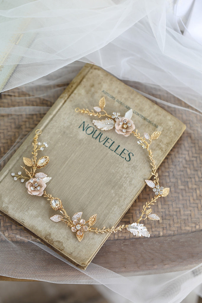 Fairytale Gold & Blush Jeweled Headpiece