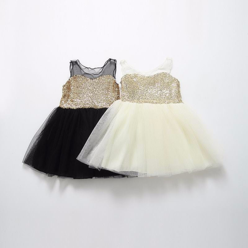 Gold Sequin Black Tulle Baby Dress
