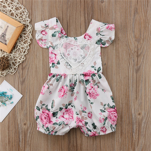 Heart Lace Floral Baby Romper