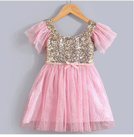 "The ""Jaci"" Pink and Gold Sequin Tutu Baby Dress"