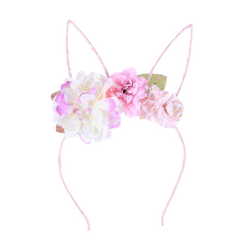 Floral Wire Bunny Ear Headband - Light Pink