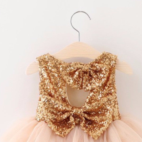 "The ""Gigi"" Shimmer Gold Sequin Bow Baby Toddler Dress - Hot Pink - Angora Boutique - 2"