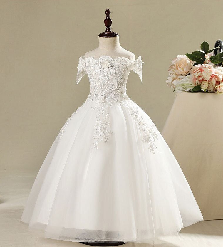 "The ""Madeline"" White Embellished Flower Dress - Long Length"