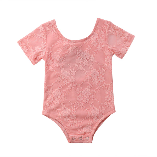 Coral Lace Baby Romper