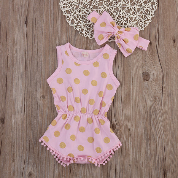 Pink and Gold Glitter Polka Dot Baby Romper + Headband - Angora Boutique