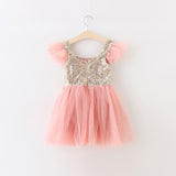 "The ""Lexi"" Infant + Toddler + Girls Pink and Gold Sequin Tutu Dress - Angora Boutique - 4"