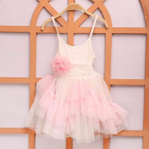 "The ""Willow"" Pink + White Ruffle Dress with Sash - Angora Boutique"