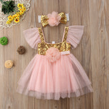 "The ""Allie"" Pink and Gold Sequin Baby Dress + Headband"