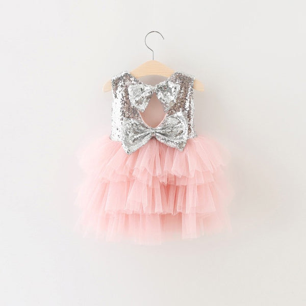"The ""Gigi"" Shimmer Silver Sequin Bow Baby Toddler Dress - Light Pink - Angora Boutique - 3"