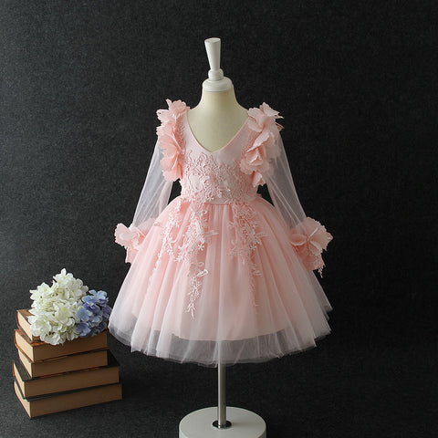 "The ""Farrah"" Pink Lace Tutu Petal Flower Girl Dress - Long Sleeve"