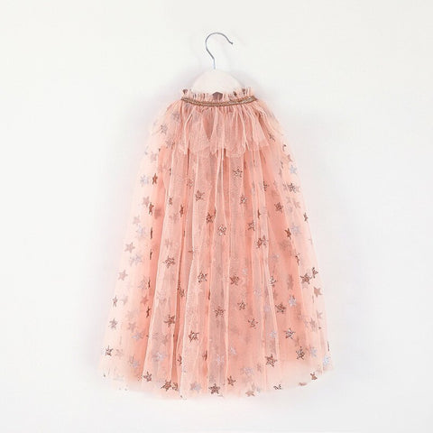 Rose Gold Girls Tulle Cape with Stars