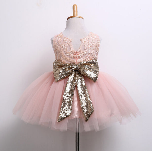 "The ""Lani"" PEACH Pink and Gold Sequin Bow Lace Tutu Dress"