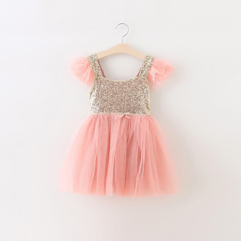 "The ""Lexi"" Infant + Toddler + Girls Pink and Gold Sequin Tutu Dress - Angora Boutique - 1"