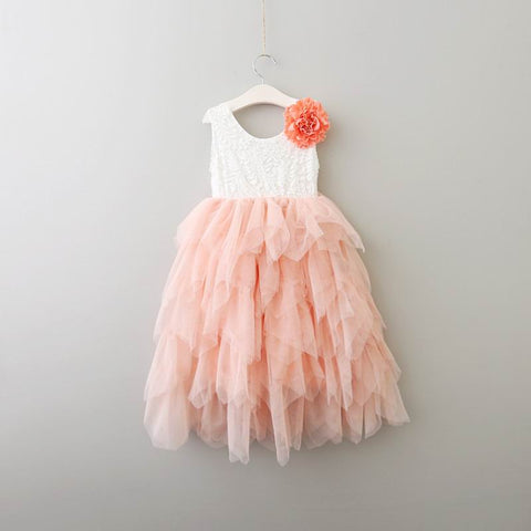 "The ""Alannah Mae"" Flower Embellished Layered Tea Length Dress - Pink"