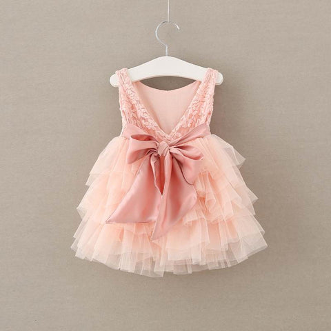 "The ""Emma"" Peachy Pink Lace Baby Dress"