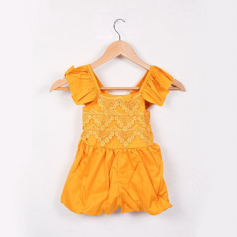 "The ""Elsie"" Fall Colors Lace Romper - Mustard"