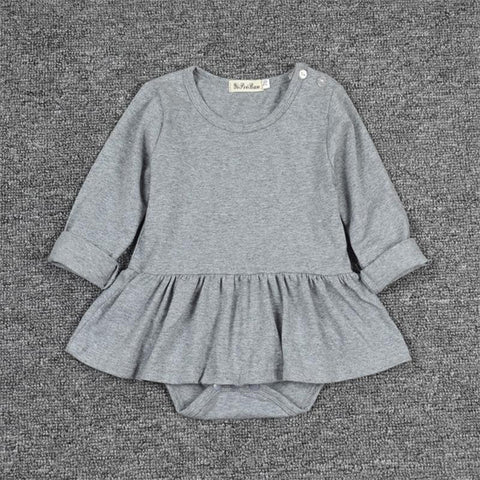 Chic Gray Skirted Cotton Baby Romper - Angora Boutique