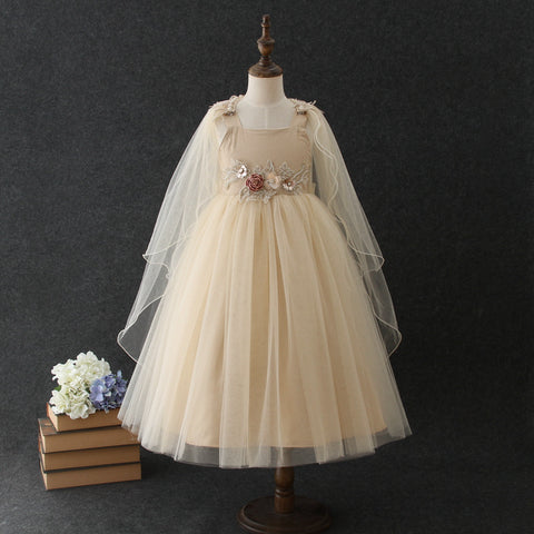"The ""Alina"" Girls Beige Cape Dress"
