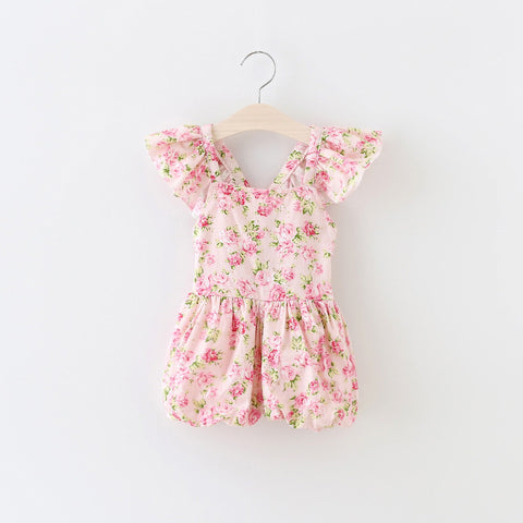 "The ""Elsie"" Floral Romper in Pink - Angora Boutique"
