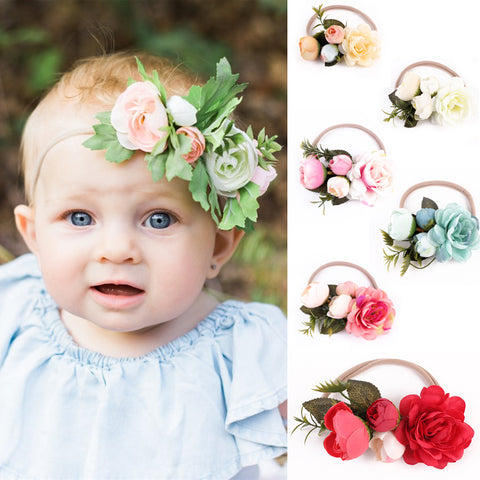 Small Floral Vintage Inspired Headband for Baby + Girls