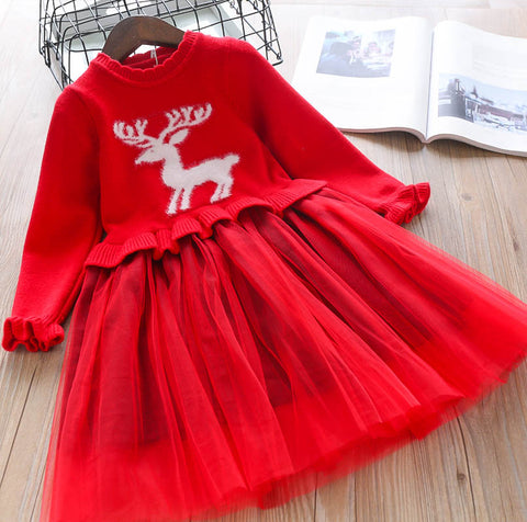 Oh Deer Me! Girls Sweater Dress - Fall/Winter 2019 - Red