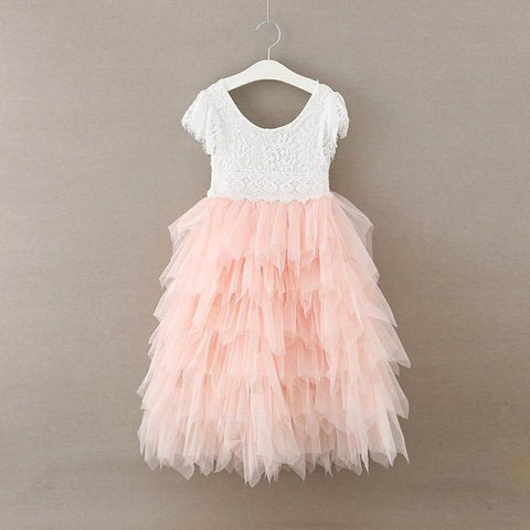 "The ""Maryanne"" White Lace and Tulle Girls Dress - Angora Boutique"