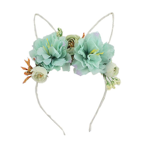 Floral Bunny Ear Headband - Mint